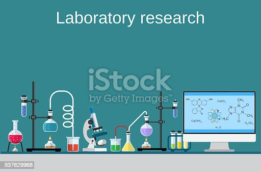 Lab worker table computer chemical research process stock for The craft of research audiobook