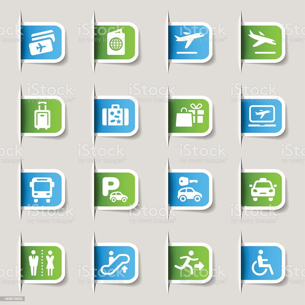 Label - Airport and Travel icons vector art illustration