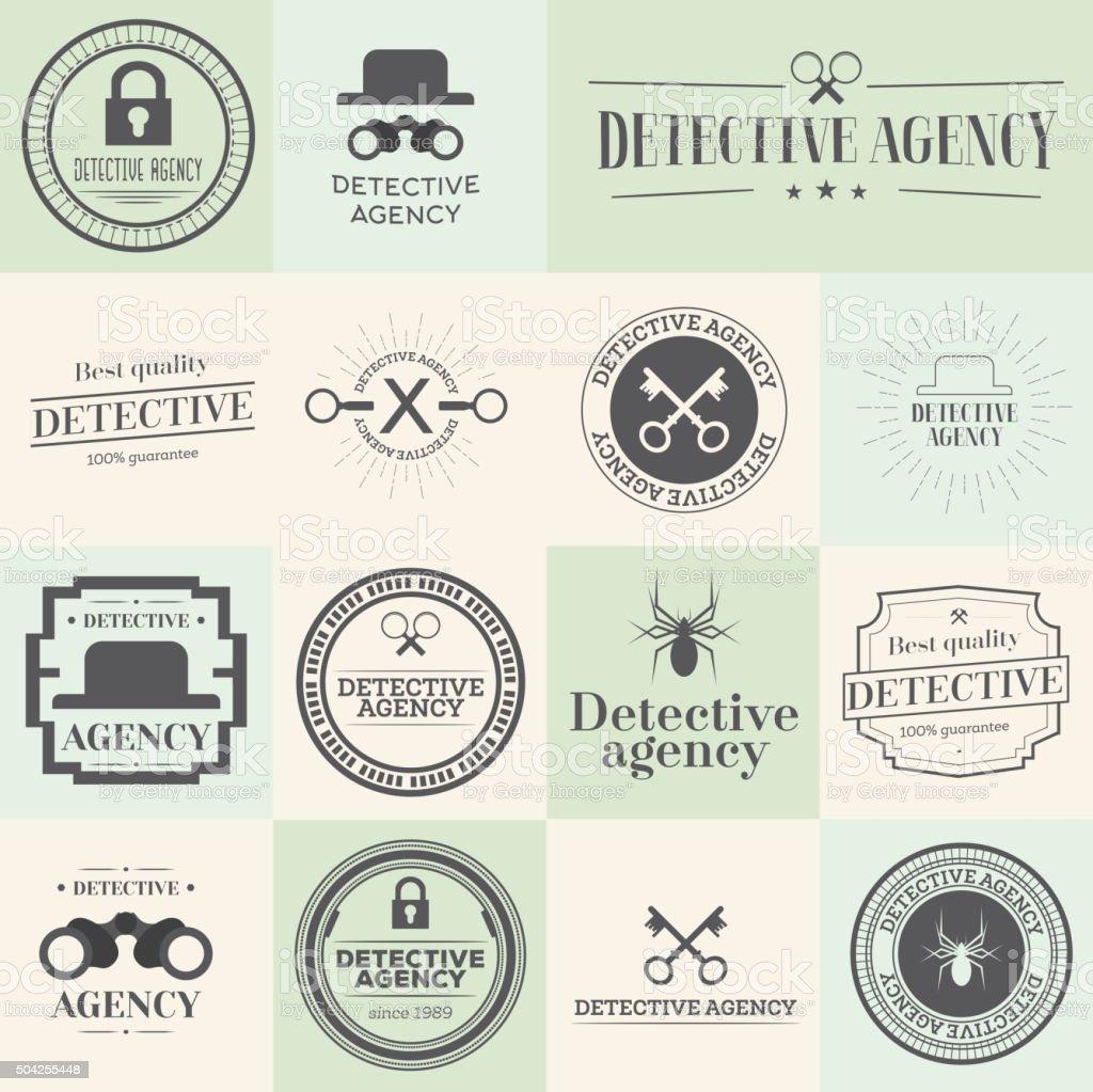 Label badges and stamps set for detective agency. vector art illustration
