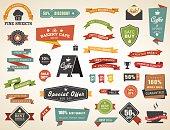 Vintage vector set of  labels banners tags stickers badges design elements. No transparencies.
