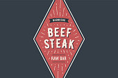 Label of bbq grill meat restaurant with grill symbols, text Beff Steak, Barbecue, Raw Bar. Brand graphic template for meat business or design - menu, poster, banner, label. Vector Illustration