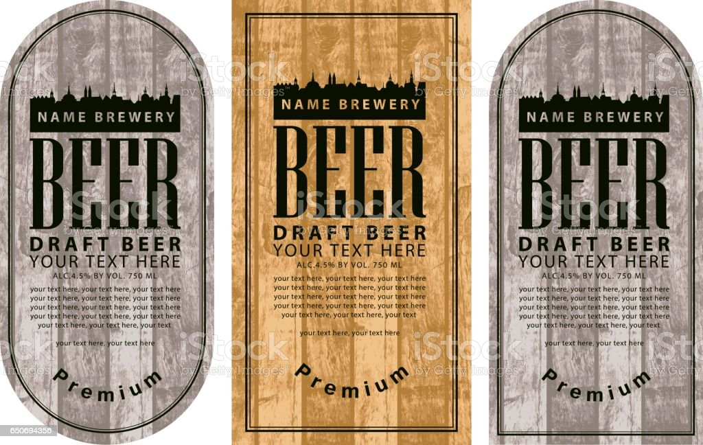 label beer with the old town on wooden background vector art illustration