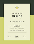 Label for a bottle of wine, glasses and a bunch of grapes. Best quality grape varieties and premium wine brand names labels emblems isolated vector illustration. White wine label Merlot.
