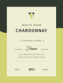 Label for a bottle of wine, glasses and a bunch of grapes. Best quality grape varieties and premium wine brand names labels emblems isolated vector illustration. White wine label Chardonnay