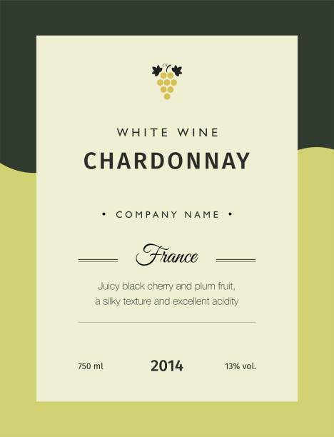 label for a bottle of wine, glasses and a bunch of grapes. best quality grape varieties and premium wine brand names labels emblems isolated vector illustration. white wine label chardonnay. - alcohol drink borders stock illustrations