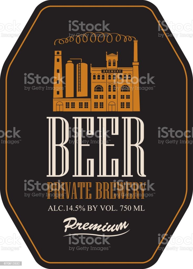 label for beer with image of brewery building vector art illustration
