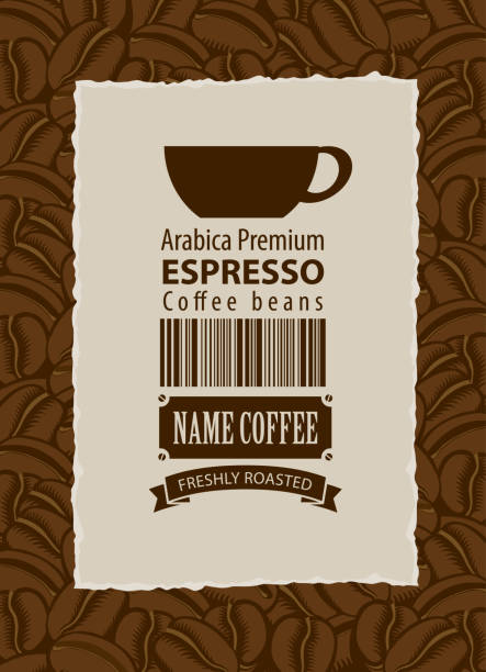 label for coffee beans with cup and bar code Vector label for coffee beans with cup and barcode in retro style in frame with ripped edges on background with coffee beans. Espresso coffee break stock illustrations