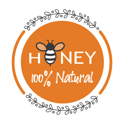 Label for honey with bee, vector.