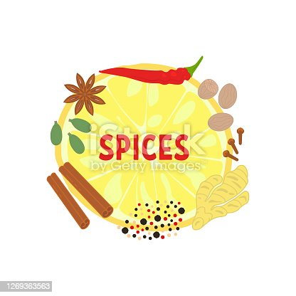 label for indian spices shop. bright color graphic elements for restaurant poster, seasoning package, app or web, top view. symbol of mix flavorings for the best dishes on menu. juicy and tasty image