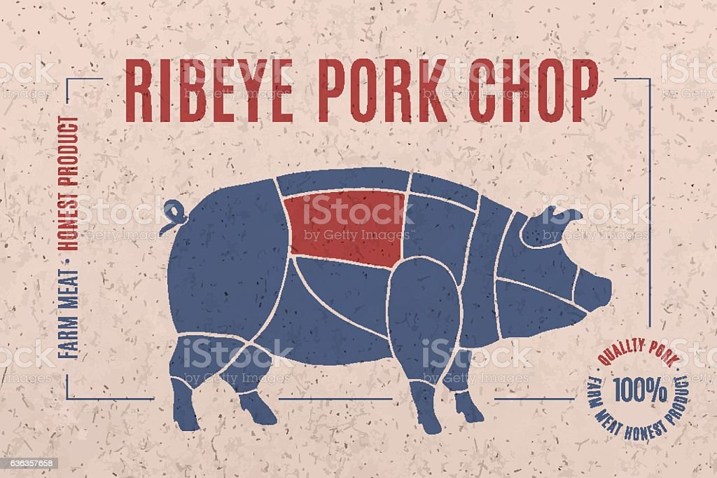 Label for pork steak meat cut vector art illustration