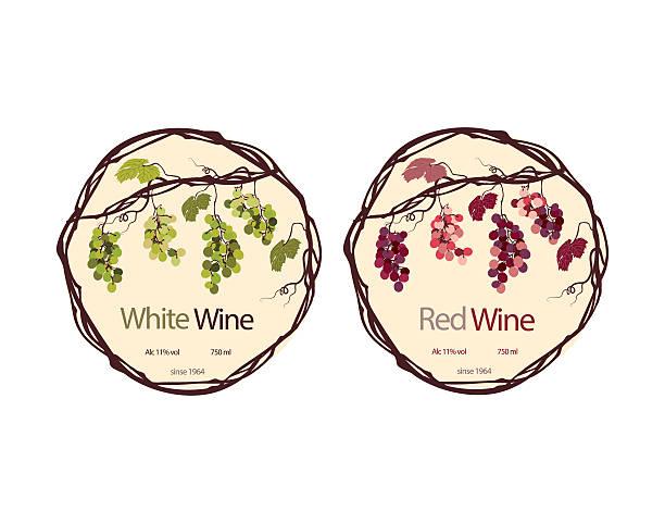 ラベル、赤と白のワイン - マスカット イラスト点のイラスト素材/クリップアート素材/マンガ素材/アイコン素材