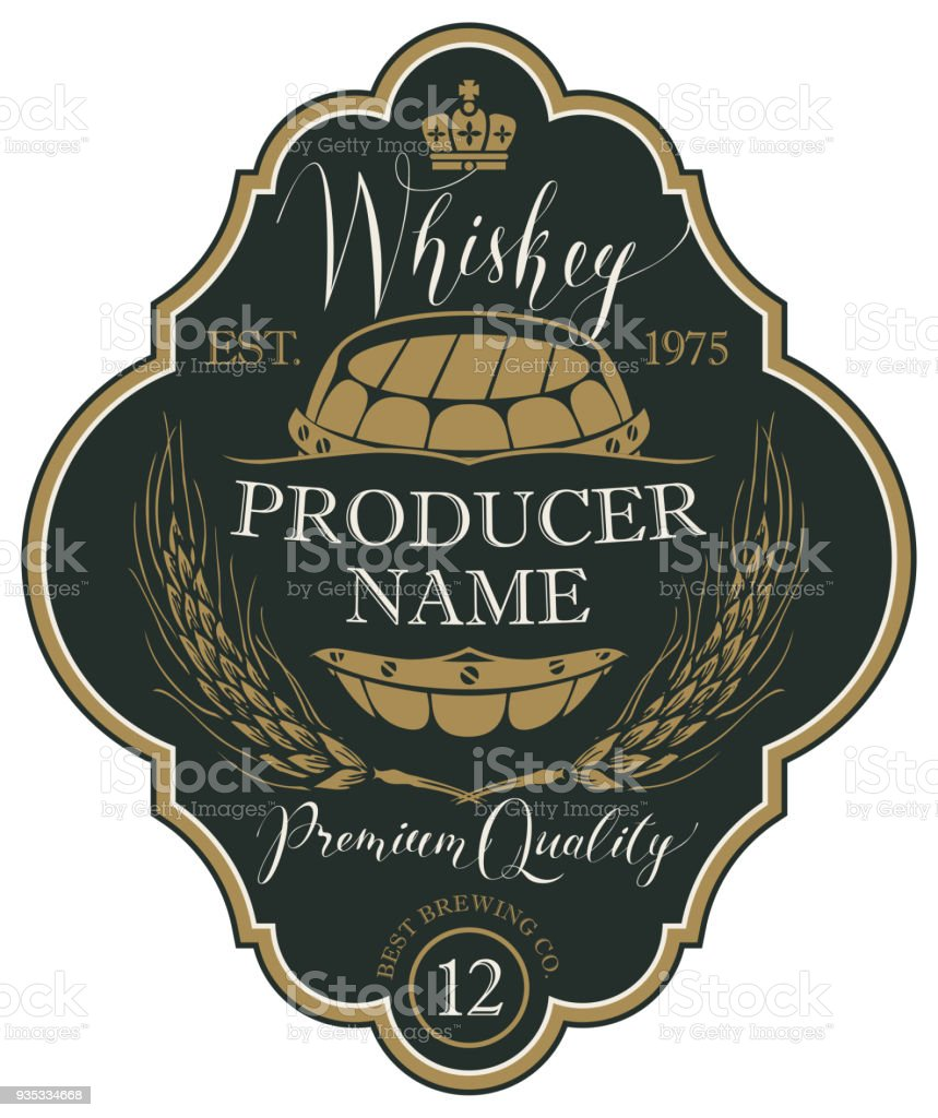 Label for whiskey with ears of barley and barrel vector art illustration