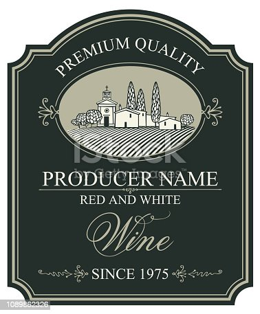 Vector wine label with a landscape of the european village in retro style with a calligraphic inscription in figured frame on the black background.