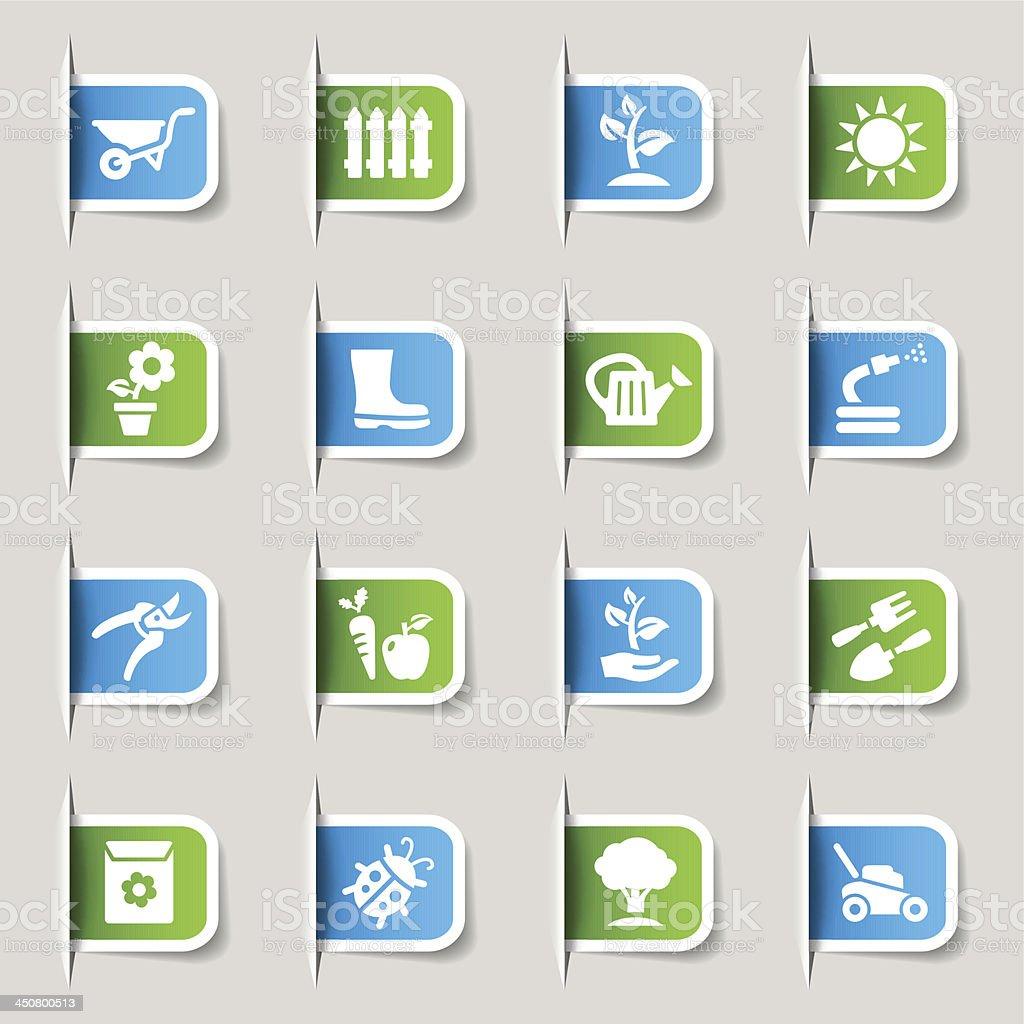 Label - Gardening icons vector art illustration