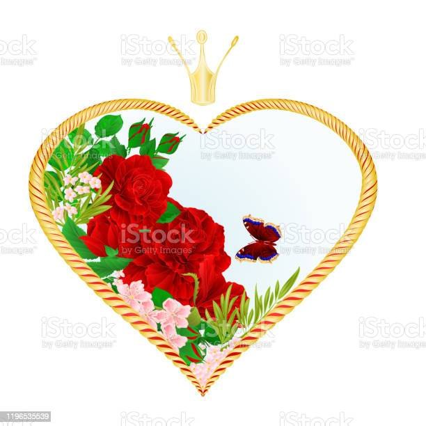 Label golden heart with a crown and flowers red roses and butterfly vector id1196535539?b=1&k=6&m=1196535539&s=612x612&h=ktsh4twixlluiyw8wfncvhyndcg erkvqmom63mauv8=