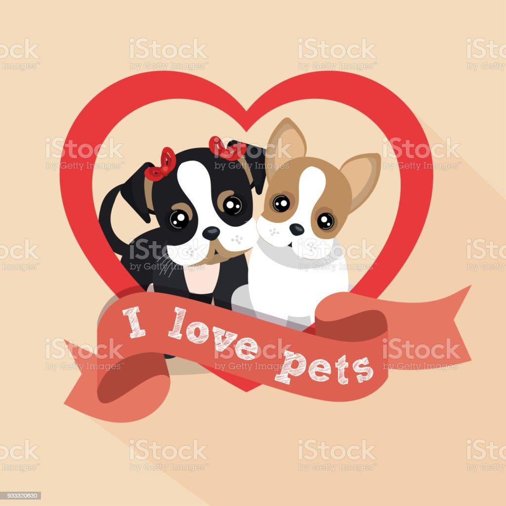 Ilustración de Etiqueta Me Encanta Corazón Perro Macho Hembra De ...