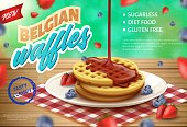 Label is Written Belgian Waffles Realistic 3d. Tasty Crispy Diet Food, Sugarlees, no Soy. Round Crispy Waffles Sprinkled with Chocolate are Served on Fruit Platter. Vector Illustration.