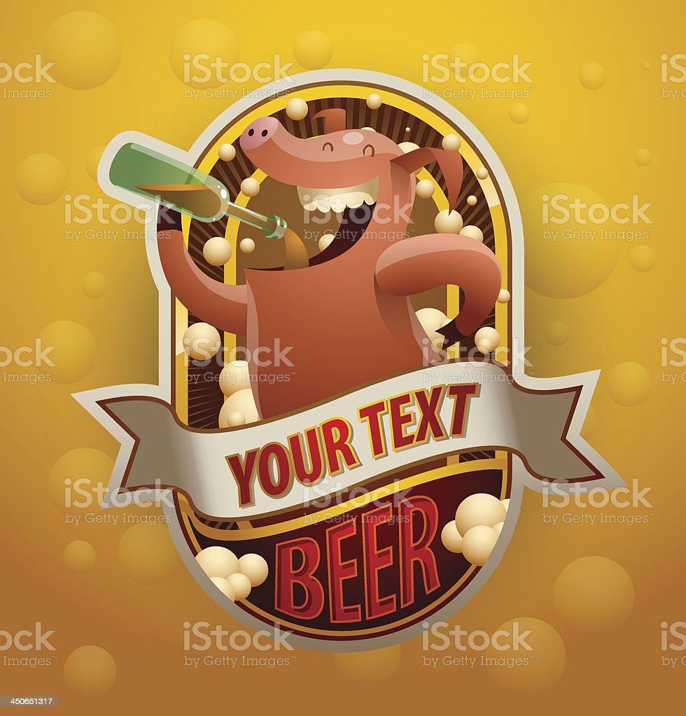 Label jolly beer-drinking pig royalty-free label jolly beerdrinking pig stock vector art & more images of alcohol