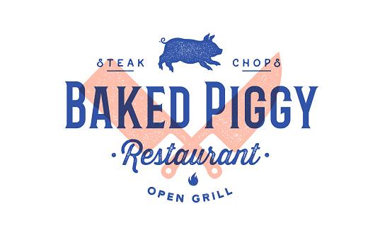 Label logo meat restaurant