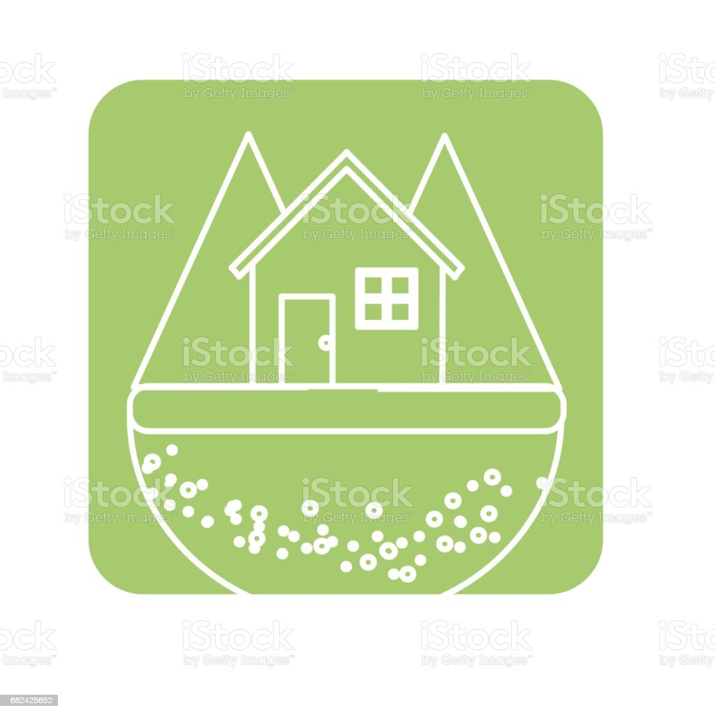 label nice house in the forest witn mountains royalty-free label nice house in the forest witn mountains stock vector art & more images of biology