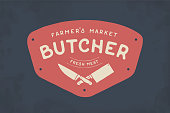 Label of Butcher meat shop with Cleaver and Chefs knives, text The Butcher Farmer Market, Fresh Meat. Label template for meat business - shop, market, restaurant or graphic design. Vector Illustration