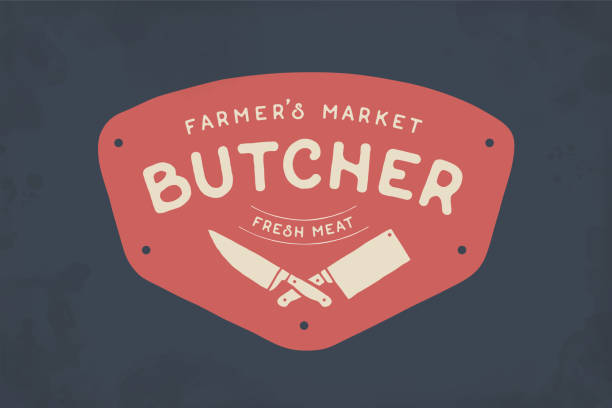 Label of Butcher meat shop vector art illustration