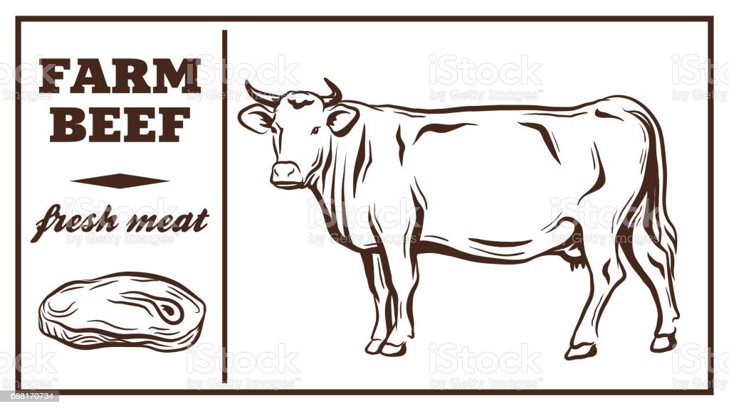 Label of meat products. Beef vector art illustration