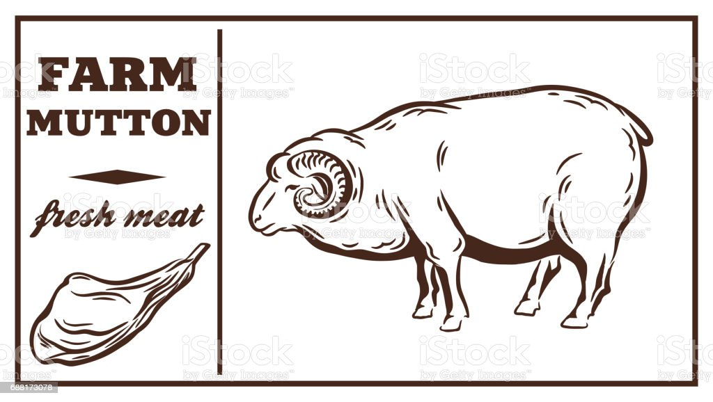 Label of meat products. Mutton vector art illustration