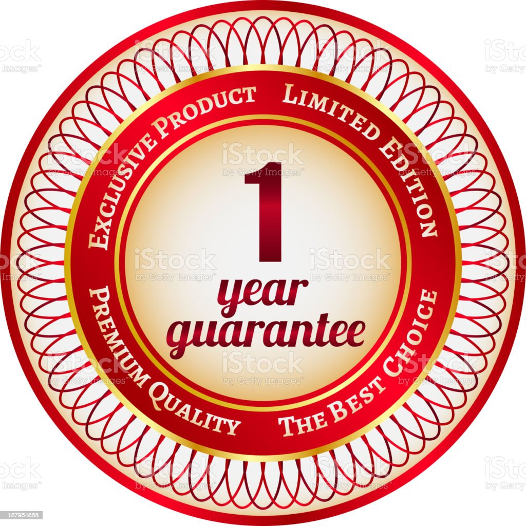 Label on 1 year guarantee royalty-free stock vector art