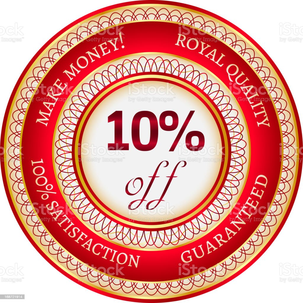 Label on 10 percent discount royalty-free stock vector art
