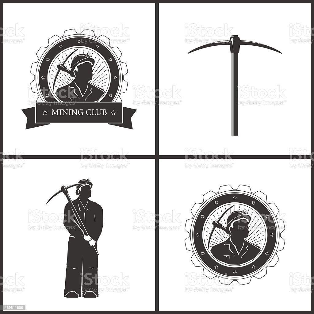 Label or Badge Mining Industry vector art illustration