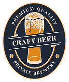 Vector label or banner for craft beer of the private brewery, with calligraphic lettering and overflowing glass of frothy beer on dark background in oval frame