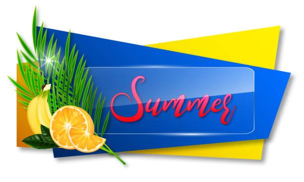 Etiketten oder Aufkleber mit Palmblättern und Früchten – Vektorgrafik