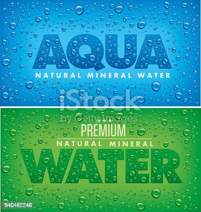 design for mineral water with many water drops