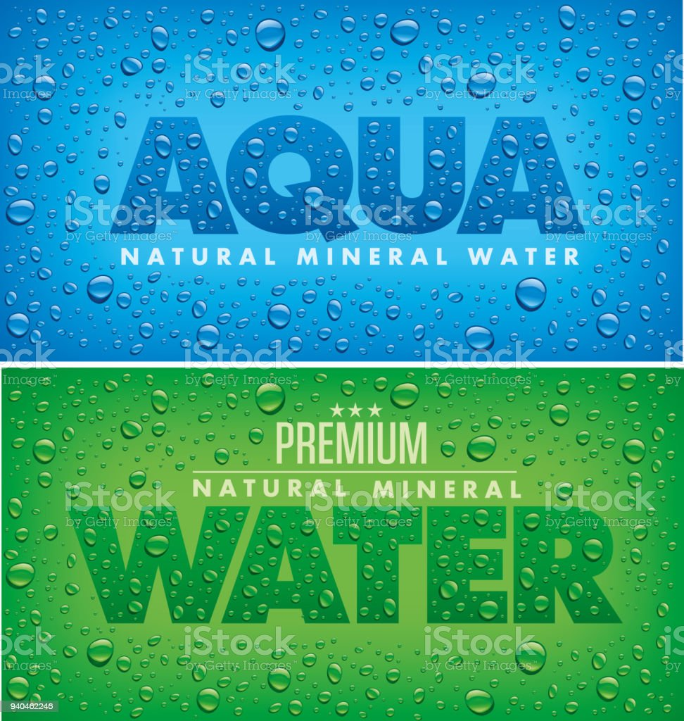 projeto de pacote rótulo para água mineral com muitas gotas de água - ilustração de arte em vetor