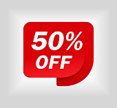Label sale of special offer. Red promo sticker of discount. Icon tag for retail. Red label for sale 50%. Special offer sticker for retail, shop, business, advertising. vector eps10