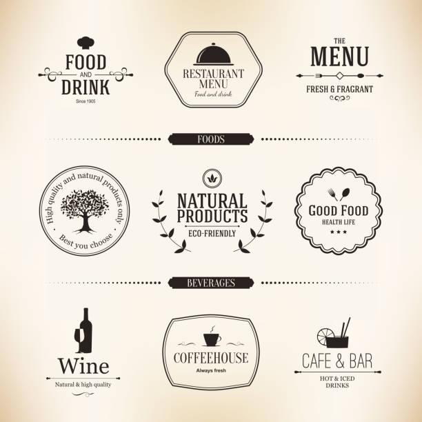 Étiquette pour restaurant menu conception ensemble - Illustration vectorielle
