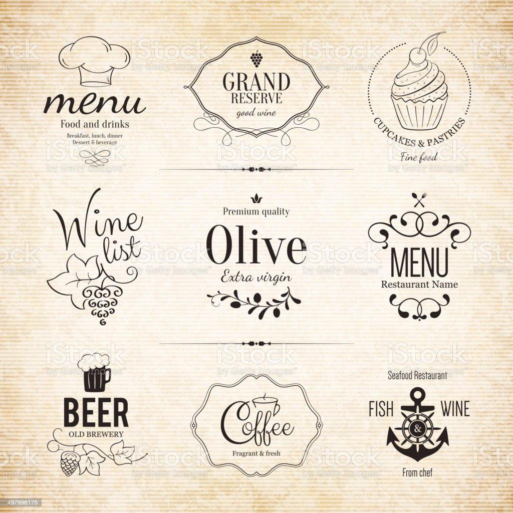 Label set for restaurant menu design vector art illustration