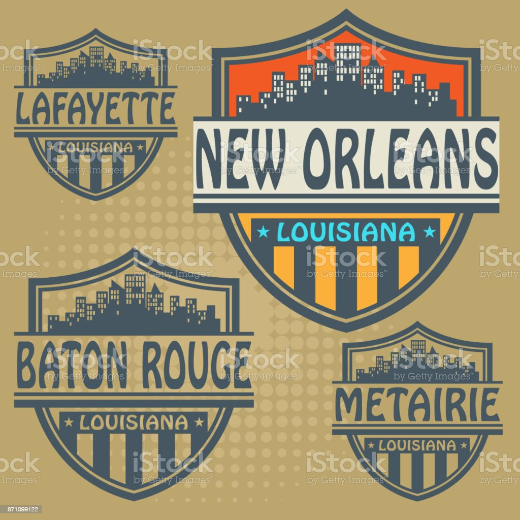 Label set with names of Louisiana cities vector art illustration
