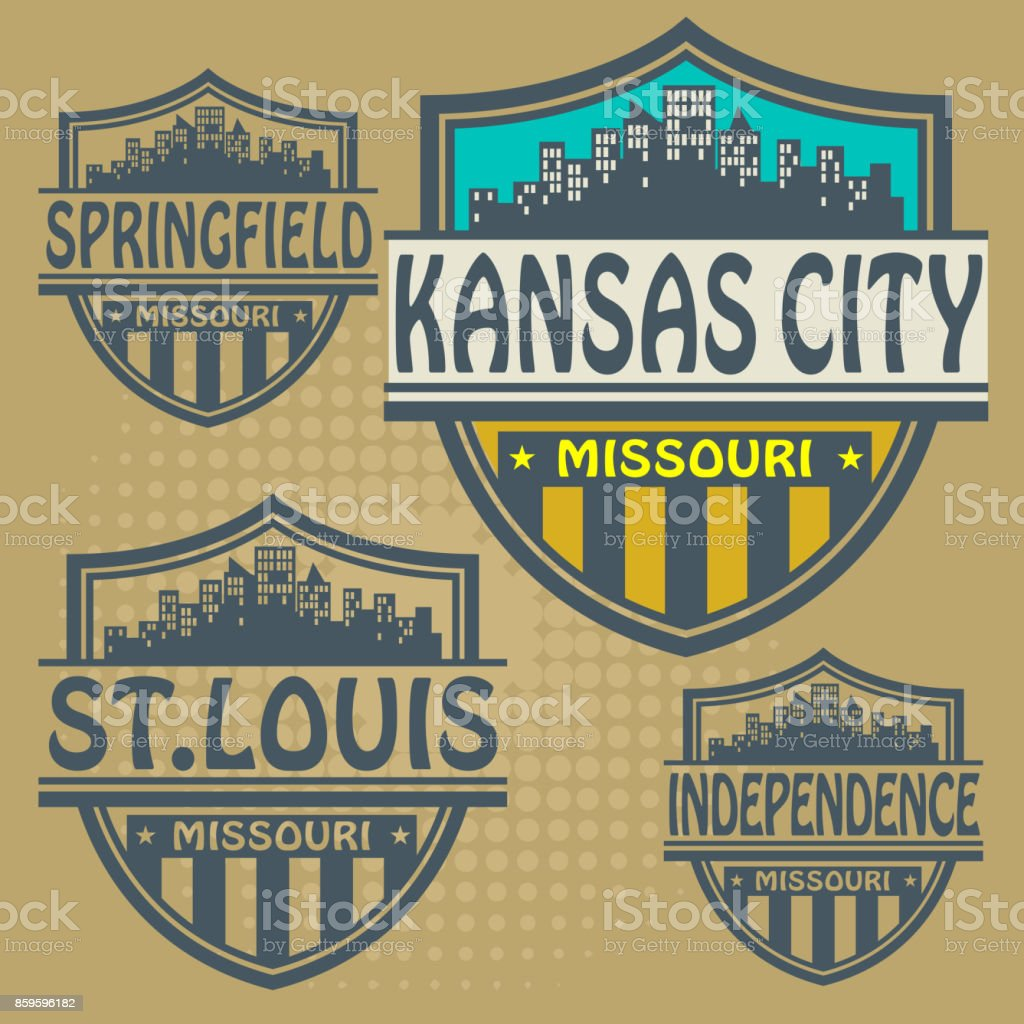 Label set with names of Missouri cities vector art illustration