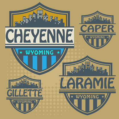 Label set with names of Wyoming cities