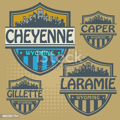Label set with names of Wyoming cities, vector illustration
