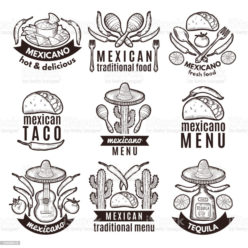 Label set with traditional mexican symbols. Food emblems for restaurant menu vector art illustration