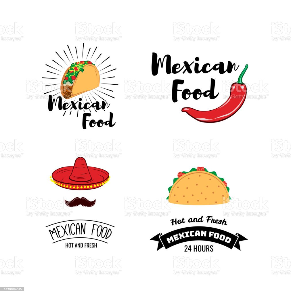 Label Set With Traditional Mexican Symbols Food Emblems For