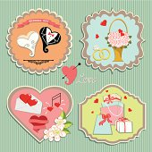 A set of labels with the wedding items for wedding invitations,sitagita template in retro style