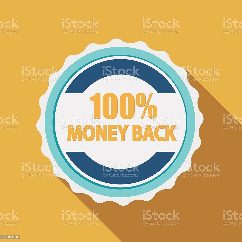 Label Sign 100% Money Back Quality in Flat Modern Design vector art illustration