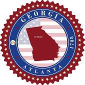 Label sticker cards of State Georgia USA
