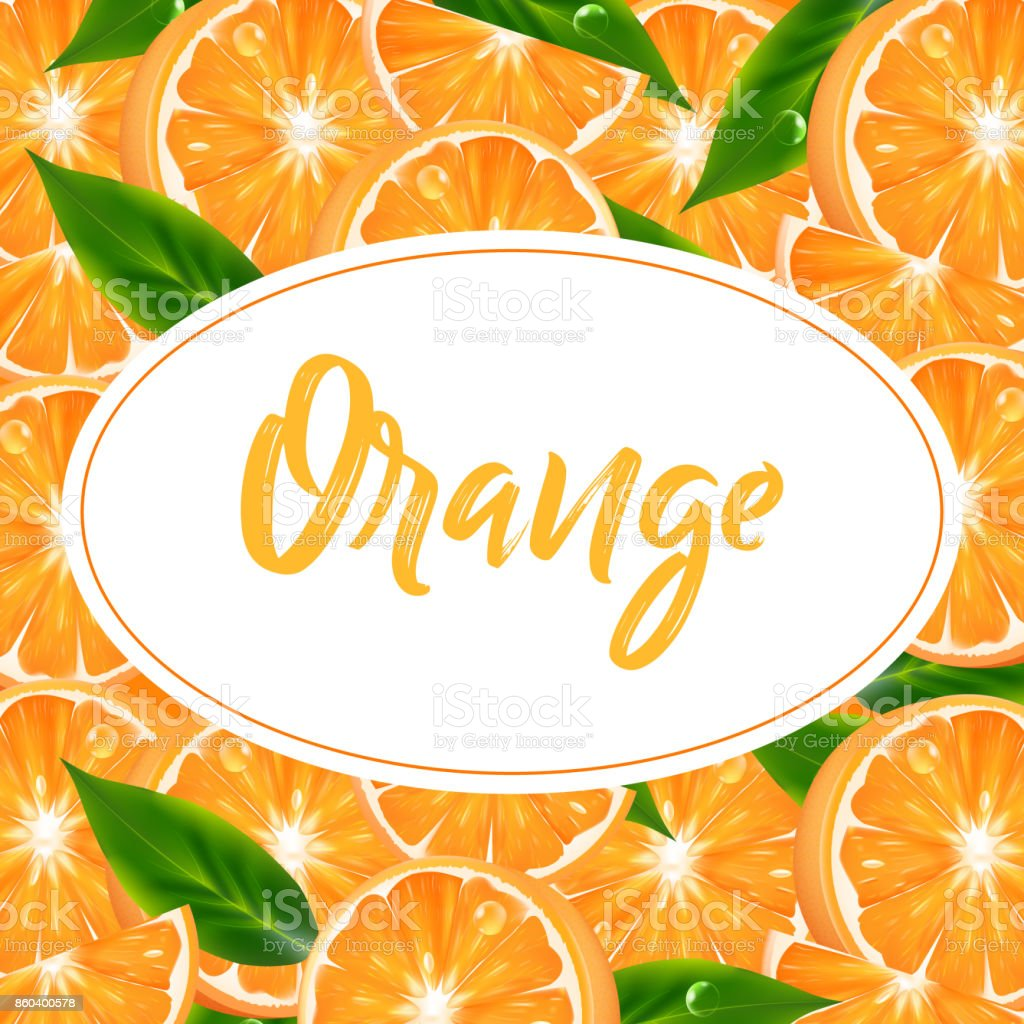 Label, sticker or background with realistic orange citrus. Vector 3d illustration with fruits vector art illustration