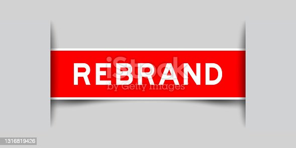 istock Label sticker red color in word rebrand that inserted in gray background 1316819426