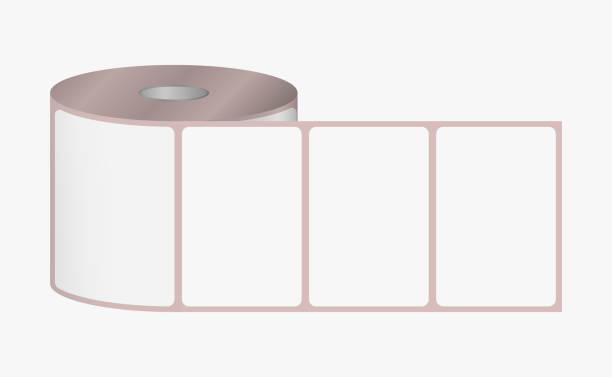 illustrazioni stock, clip art, cartoni animati e icone di tendenza di label sticker roll. blank adhesive labels 3 x 2 inches dimensions on bobbin - rotolo
